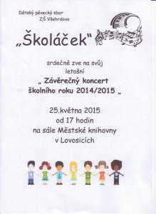 Koncert sboru Školáček 25.5. od 17 hodin